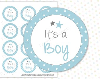 Its a boy tags (INSTANT DOWNLOAD) - Its a boy stickers - Gender reveal stickers - Gender reveal party