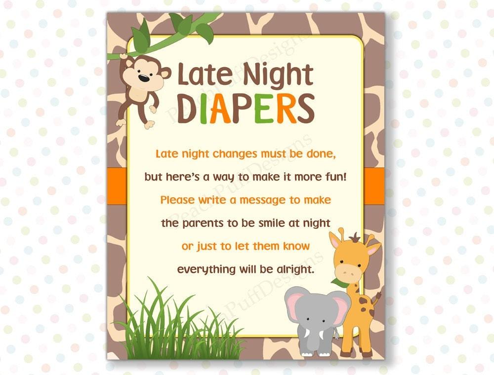 Late night diapers Safari INSTANT DOWNLOAD Safari baby