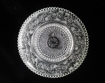 Vintage Pressed Glass Dessert Plate
