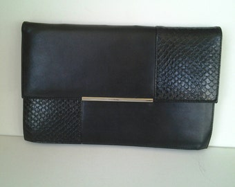 90's Cabrelli Black Purse / Clutch / Faux Leather / Canadian made