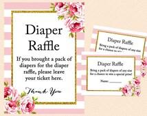 Diaper Raffle Ticket, Diaper Raffle Card, Diaper Raffle Printable, Diaper Raffle Sign, Raffle Insert, Pink shabby chic baby shower TLC50