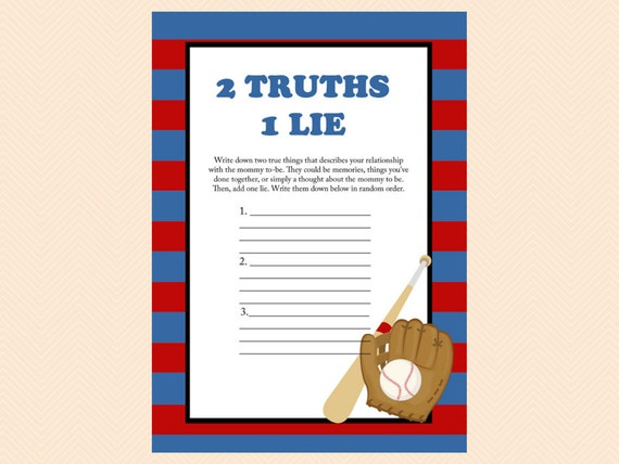 Two Truths Game 2 Truths 1 Lie Navy Red by MagicalPrintable