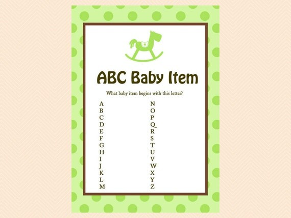 abc baby item game alphabet game name the baby items gender reveal