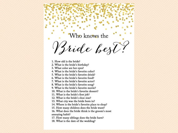 who knows the bride best how well do you know the bride game
