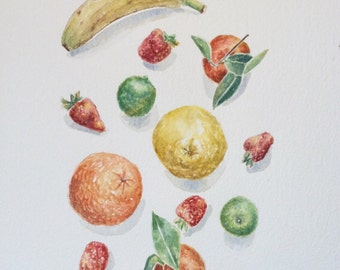 Original watercolor kitchen art mixed fruits,watercolor art original still life painting,kitchen art,kitchen decor,fruit art