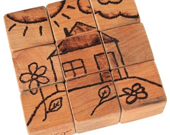 Wooden Puzzle HOUSE - handmade wooden blocks -for child's development