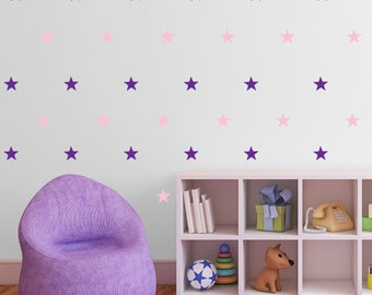 Star Wall Stickers - Multi Pack of 60 Decals - Different colour combinations available