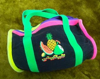 80s / 90s Cancun Mexico neon dayglo canvas hand bag