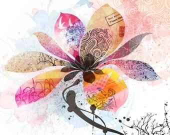 Modern Flower Collage 8x8 Print
