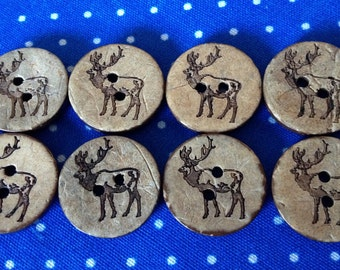 Pack of 8 Coconut Stag Buttons (#0 32)