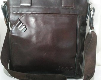 Vintage Leather Messenger Shoulder Bag ,JEEP,