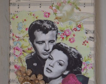 Collage art, mixed media art, vintage inspired, wall art, shabby chic