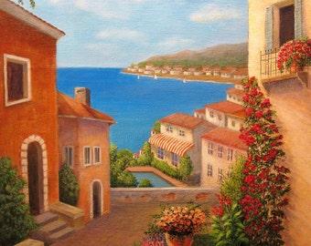 Coastal Town, Italy, Original Painting
