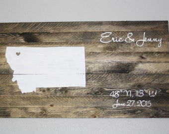 Latitude Longitude Wooden Home Decor, Customizable, Rustic Wedding Decor