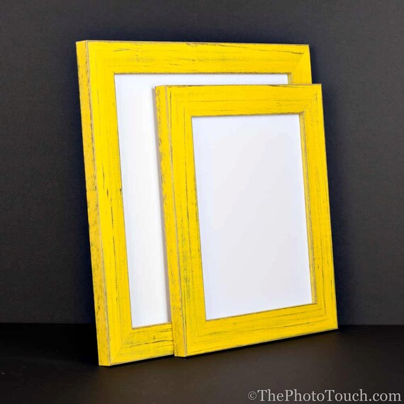 Yellow Picture Frame Rustic Reclaimed By Artandphotoframing