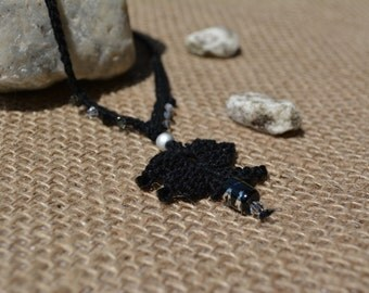 Butterfly Necklace - Black Necklace - Crochet Necklace - Long Necklace