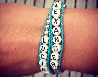 Personalised Double Leather Wrap Bracelet - Letter, Name or Phrase.