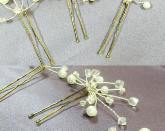 Wedding hair pins, set of 3, hair clip for wedding.