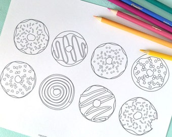 Printable DOUGHNUTS Coloring Page- Digital File- Instant Download sweets, treats, donut, toppings, frosting, sprinkles
