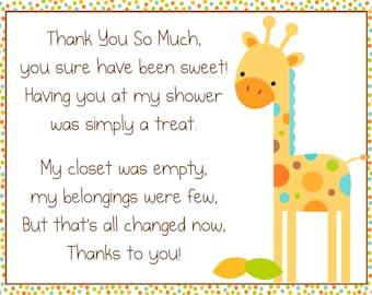 Baby Giraffe Thank You