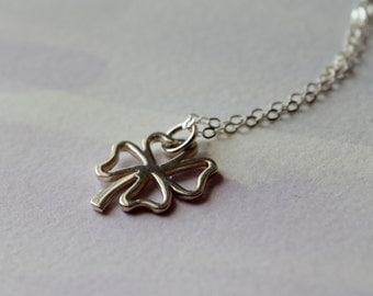 Shamrock necklace, four leaf clover necklace, sterling silver shamrock, open clover charm, good luck