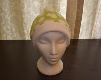 Green and White Polka Dot Fleece Hat