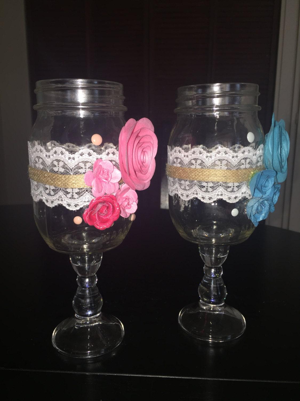 mason jar wine glasses wedding toasting glasses his by swankyjunk. Black Bedroom Furniture Sets. Home Design Ideas