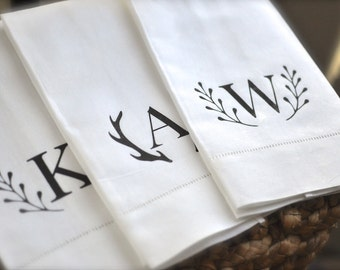 Monogrammed Guest Towel | Personalized Hand Towel | Monogram Hand Towel Tea Towel | Antlers Monogram | laurel monogram | linen hostess gift