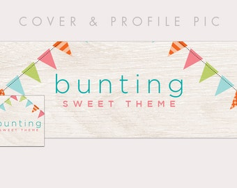 Colorful Flags Wood Timeline Cover + Profile Picture | Bunting | Cover, Profile Picture, Branding, Web Banner, Blog Header
