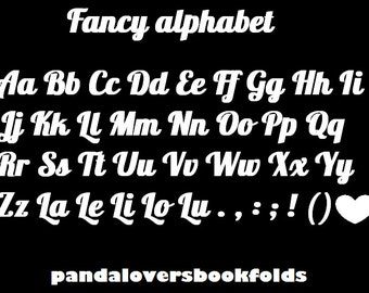 Fancy alphabet book folding pattern,make any word or name of your choice! PATTERN ONLY,book folding alphabet,fancy font book folding pattern