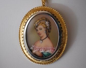 18K Victorian Cameo Diamond Pendant and Brooch