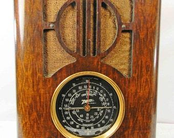 ZENITH Radio  model  6-S-229 tombstone tube radio with AM-SW and mini-jack installed