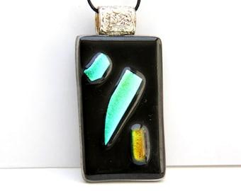 Dichroic Fusing Mosaic glass Rectangle pendant