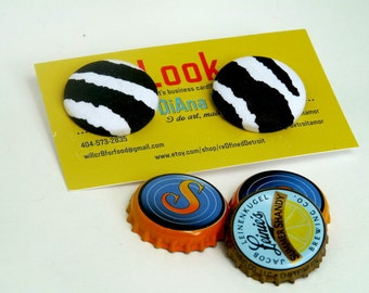 Cute Zebra Print Covered Fabric Button Earrings