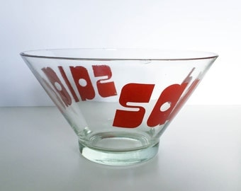 Glass Salad Bowl • Retro Lettering/Typography • Vintage 1970's