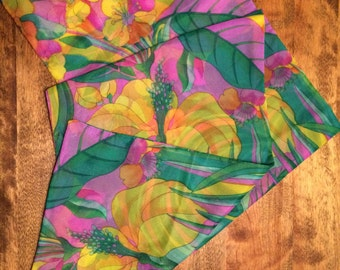 Vintage Floral Nylon Rectangular Scarf
