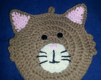 Tan Cat Pot Holder