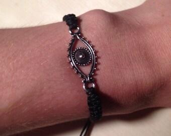Silver evil eye macrame bracelet