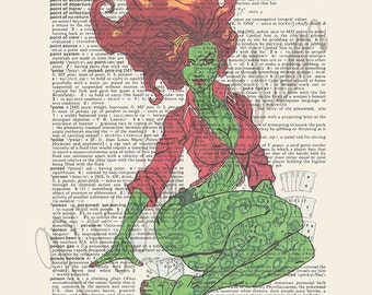 DC comics Poison Ivy on dictionary page print