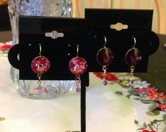 Swarovski rose crystal rivoli earrings