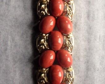 Vintage Silver and Burnt Orange Bracelet - Vintage Jewelry - Costume Jewelry - 1970's - Unique Bracelet - Beaded Bracelet