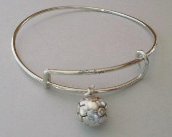 PICK YOUR BIRTHSTONE - Soccer Ball / Adjustable Bangle Bracelet / Sport Charm / Sport bracelet Under Twenty /  Gift -  Under 20 - Usa  SP1