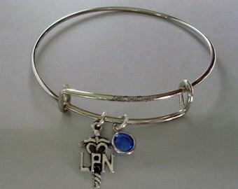 LPN Licensed Practical Nurse Charm / Adjustable Bangle Bracelet W/ Birthstone Crystal Drop / LPN Bracelet Gift For Her - Usa N1