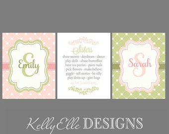 Name Prints and Sisters Print Set of THREE Prints - Girls Room Nursery- Name Initial and Sisters Wall Art Prints Pink Green Purple Aqua