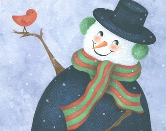 Snowman and Red Bird, Snowman Painting, Art Print for Kids