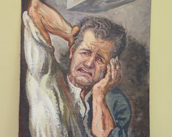 Vintage oil painting portrait of a man with toothache original signed Pancaldi Italy europe