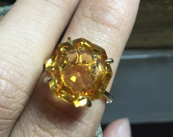 Natural citrine ring in 14K yellow gold,solitaire engagement ring, gemstone ring