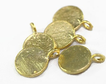 50 Pcs 17mm Gold Plated Coin Charms, Gold Coins, Rustic Coin Pendants - AKS 175