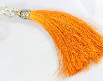 5 Pcs Orange Silky Thread Tassel, Beaded Tassel Necklace, 130 mm Tassel Pendants with Swarovski Stones