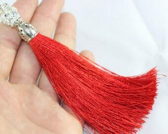 5 Pcs Red Silky Thread Tassel, Beaded Tassel Necklace, 130 mm Tassel Pendants with Swarovski Stones